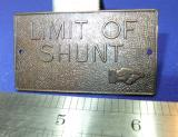 mini railway sign limit of shunt brass plate station depot sign miniature