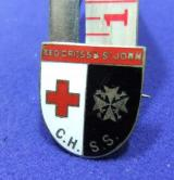 ww2 badge central hospital supply service red cross st john chss home front war