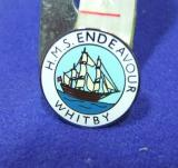 hms endeavour whitby pin badge captain cook bark sailing ship souvenir